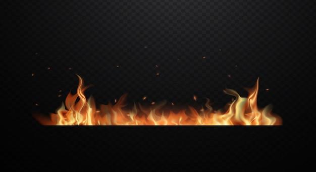 Chamas de fogo realista sobre fundo preto transparente. ilustração design plano