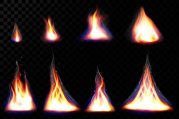 Chamas de fogo realistas e faíscas