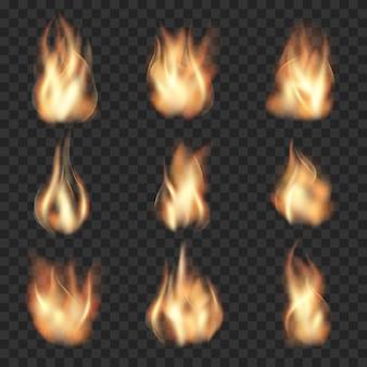 Chamas de fogo realistas em fundo transparente quadriculado. queime quente, chama de calor, energia de incêndio florestal, ilustração vetorial