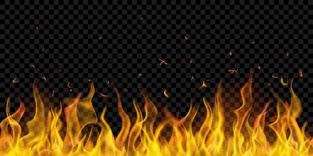 Chamas de fogo translúcidas com repetição horizontal em fundo transparente