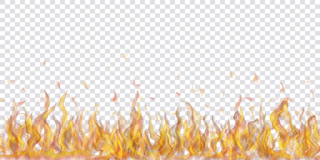 Chamas de fogo translúcidas e faíscas com repetição horizontal em fundo transparente. para uso em ilustrações leves. transparência apenas em formato vetorial