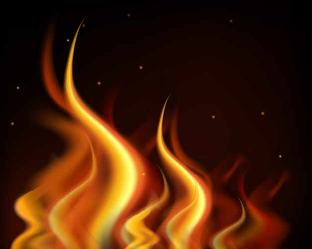 Chamas quentes queimam em fundo preto