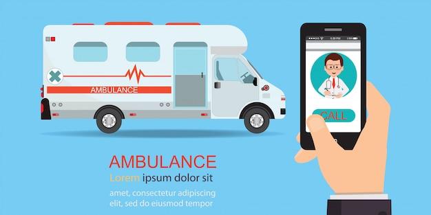 Chame o carro da ambulância através do telefone móvel.