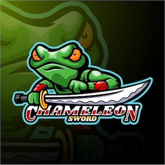 Chameleon esport logotipo mascote design