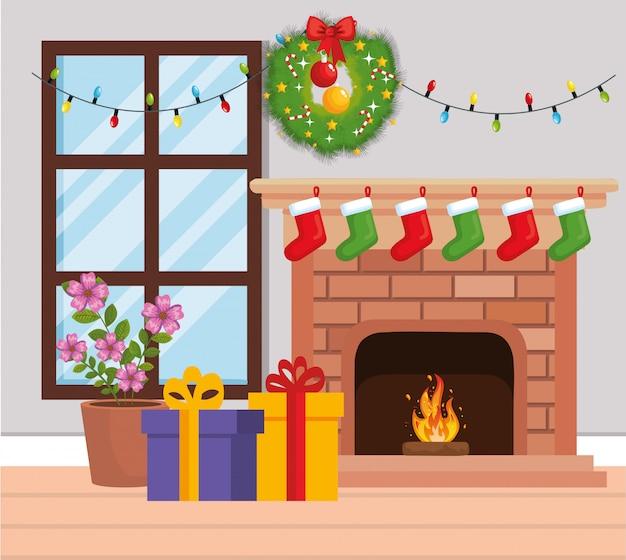 Chaminé com decoração de natal