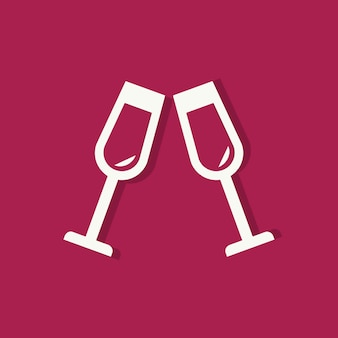 Champagne glasses valentines day icon
