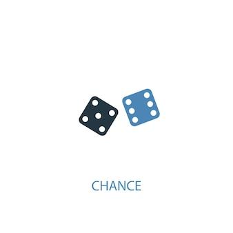 Chance conceito 2 ícone colorido. ilustração do elemento azul simples. chance conceito símbolo design. pode ser usado para ui / ux da web e móvel