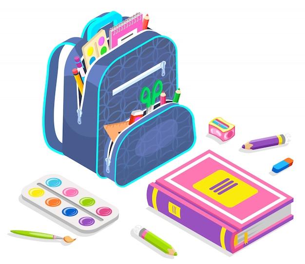 Chancelaria da escola, mochila com notebook