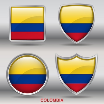 Chanfro da bandeira da colômbia 4 formas ícone