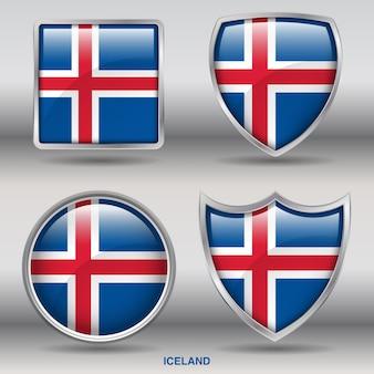 Chanfro da bandeira da islândia 4 formas ícone
