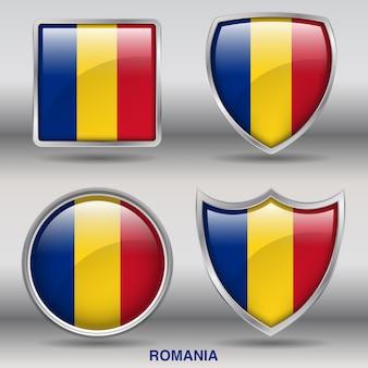 Chanfro da bandeira da romênia 4 formas ícone