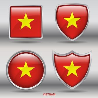 Chanfro da bandeira do vietnã 4 formas ícone