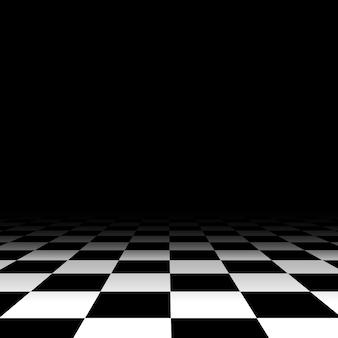 Chão de xadrez preto e branco