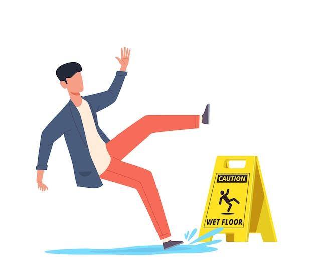 Chão úmido. homem em queda escorrega na água, escorregando e caindo, personagem desequilibrado ferido, lesão corporal, queda perigosa, conceito de vetor de desenho animado de perigo, sinal amarelo
