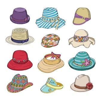 Chapelaria de roupas de moda de chapéu de mulher ou chapelaria e fone de ouvido feminino elegante acessório ilustração de chapéu de senhora ou chapéu de verão no fundo branco