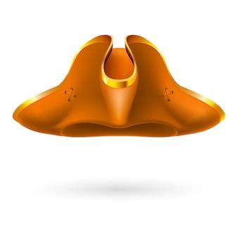 Chapéu armado de pirata laranja em fundo branco