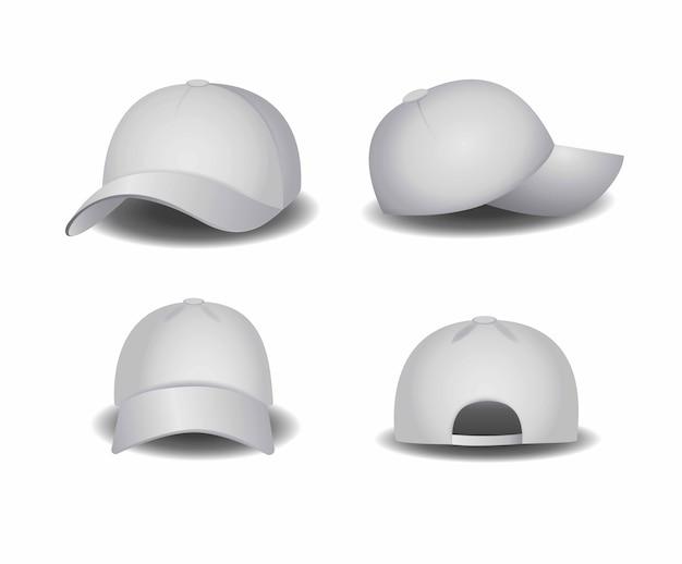 Chapéu, boné de beisebol branco modelo em branco editável