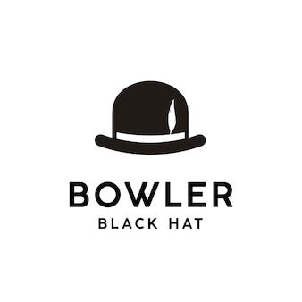 Chapéu-coco preto vintage com design de logotipo de penas