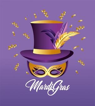 Chapéu com penas e máscara de decoração para merdi gras