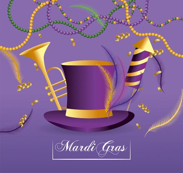 Chapéu com trompete e fogos de artifício para merdi gras