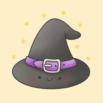 Chapéu de bruxa cartoon estilo mão desenhada
