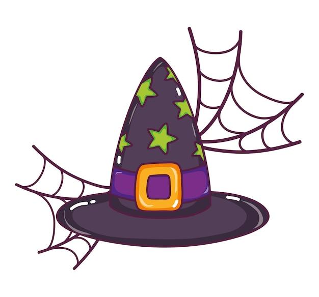 Chapéu de bruxa com estilo de estrelas e teia de aranha