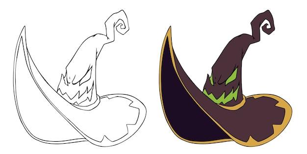 Chapéu de bruxa com ilustração de rosto evial