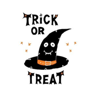 Chapéu de bruxa com rosto sorridente fofo e letras de doces ou travessuras e elementos de cruz do doodle. cartão de férias. isolado no fundo branco.