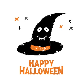 Chapéu de bruxa com rosto sorridente fofo e letras de feliz dia das bruxas e elementos cruzados. cartão de férias.