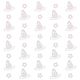 Chapéu de bruxa de contorno degradado com fundo de fita e estrela