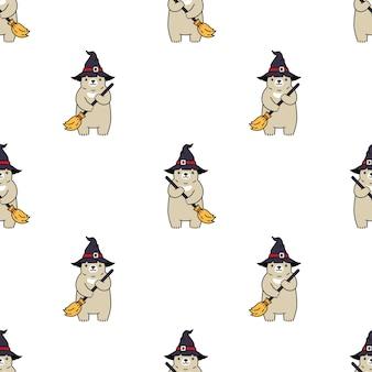 Chapéu de bruxa de halloween com padrão sem emenda de urso polar
