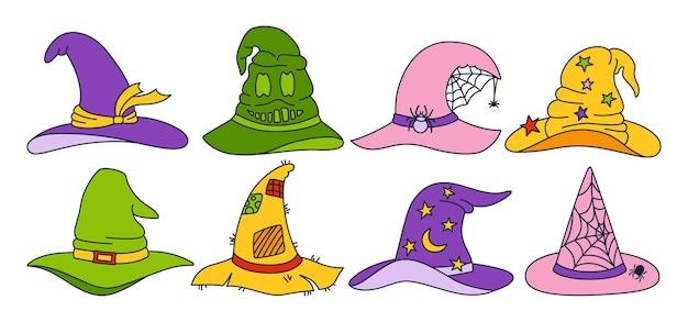Chapéu de bruxa halloween doodle conjunto linha de festa chapéus mágicos horror feiticeiro cocar celebrar elemento