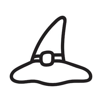Chapéu de bruxa mágica desenhada de mão em estilo doodle. ilustração vetorial de halloween para design de cartão e decoração de outono. arte da linha do chapéu do assistente.