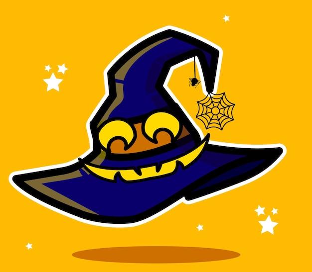 Chapéu de bruxa sorridente com teia de aranha ilustrada em vetor