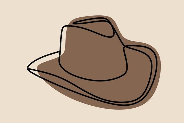 Chapéu de caubói arte em linha contínua on-line