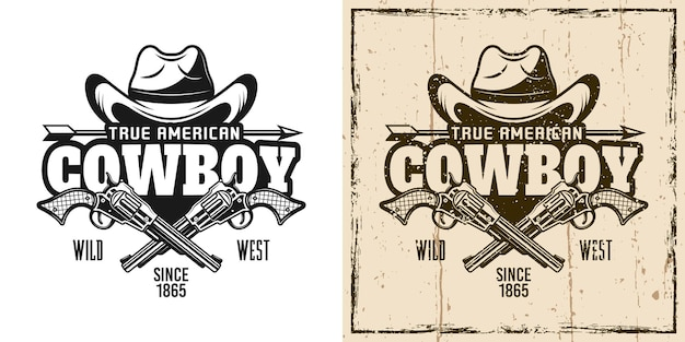Chapéu de caubói e pistolas cruzadas com emblema, distintivo, etiqueta, logotipo ou t-shirt estampado em dois estilos monocromático e vintage colorido