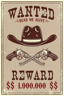 Chapéu de caubói e revólveres em fundo grunge