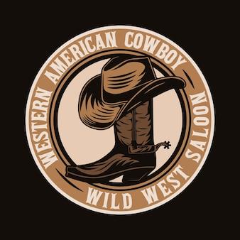 Chapéu de caubói no emblema da bota do velho oeste