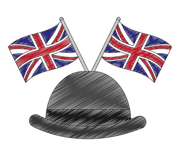 Chapéu de cavalheiro com bandeiras da grã-bretanha