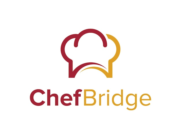 Chapéu de chef com ponte e arco simples, criativo, geométrico, elegante, moderno, logotipo