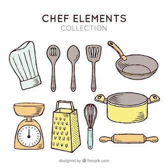 Chapéu de chef e outros itens de cozinha