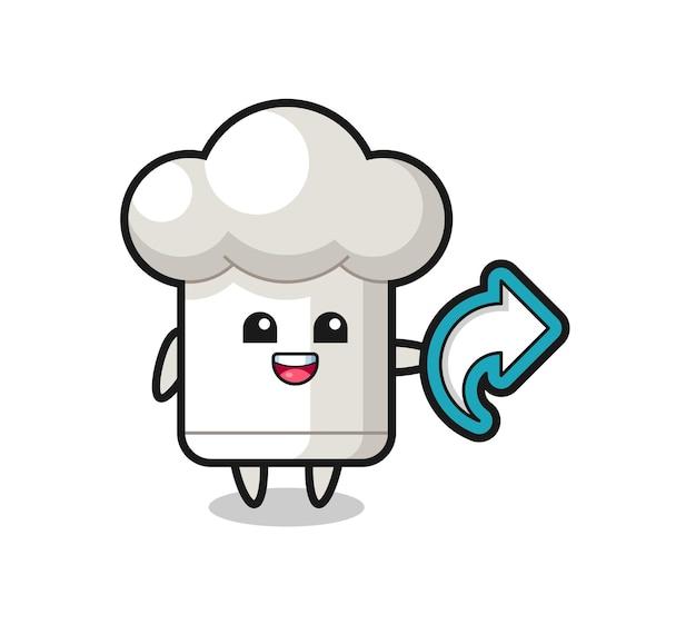 Chapéu de chef fofo com símbolo de compartilhamento de mídia social, design de estilo fofo para camiseta, adesivo, elemento de logotipo