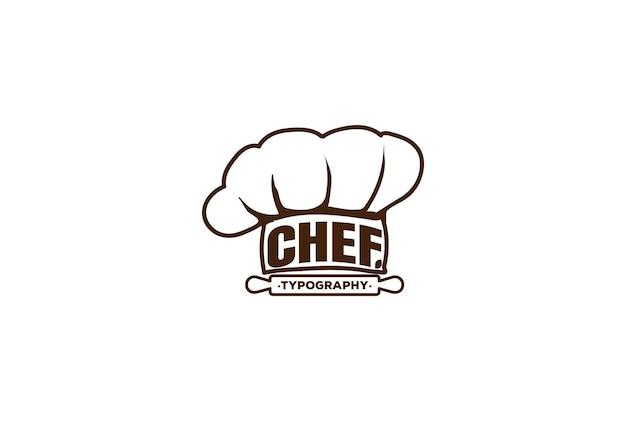 Chapéu de chef restaurante cozinha tipografia logo design vector