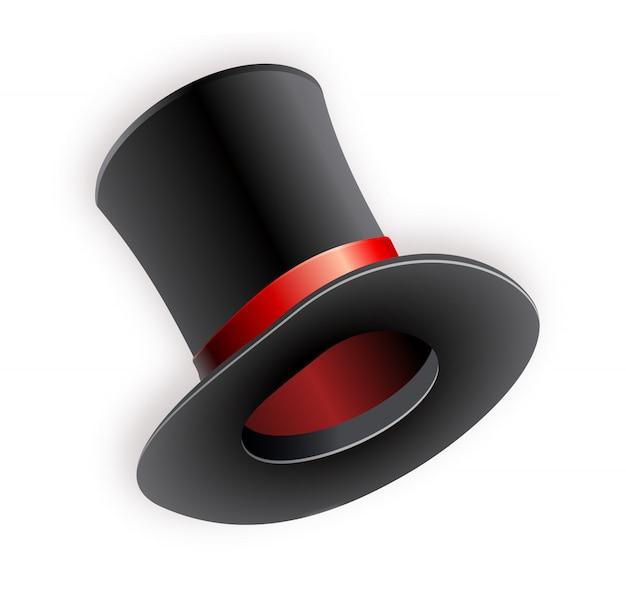 Chapéu de cilindro preto com fita vermelha. chapéu mágico.
