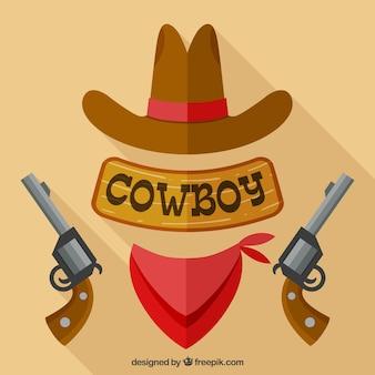 Chapéu de cowboy, lenço e revólver