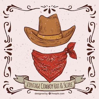 Chapéu de cowboy retro e cachecol