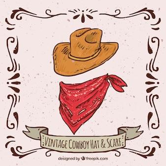 Chapéu de cowboy vintage e cachecol