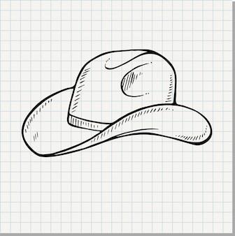 Chapéu de cowboy - vintage gravado ilustração vetorial (estilo doodle)