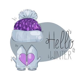 Chapéu de desenho animado quente separado com luvas e acessório de gorro de touca de inverno