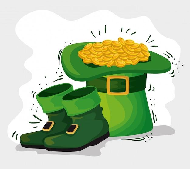 Chapéu de dia de são patrício com moedas de ouro e botas